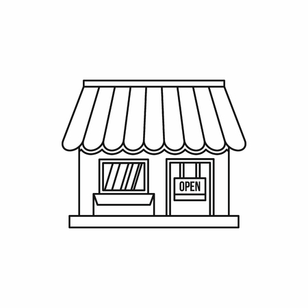 Shop icon in outline style isolated on white background. Shopping symbol vector illustration