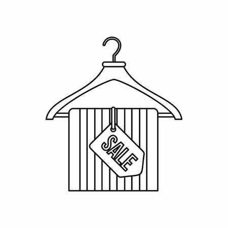 sellout: Hanger with sale tag icon in outline style isolated on white background. Sellout symbol vector illustration