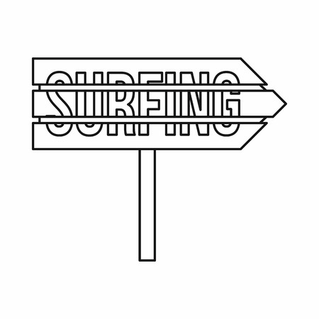 specifies: Road sign with word Surfing icon in outline style isolated on white background. Signboard symbol vector illustration