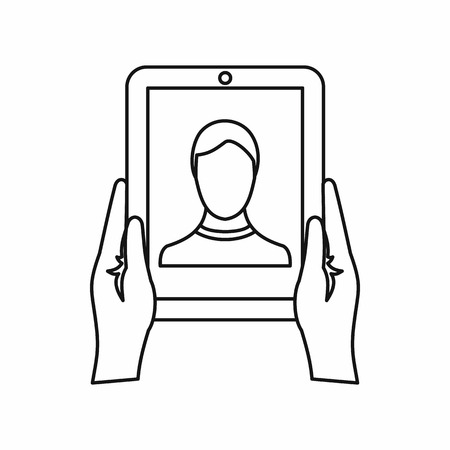 review site: Hands holding a tablet with photo icon in outline style isolated on white background. Device symbol vector illustration