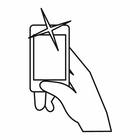 review site: Hand taking pictures on cell phone icon in outline style isolated on white background. Device symbol vector illustration Illustration