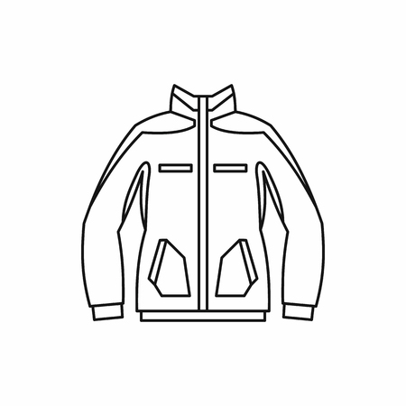 winter jacket: Men winter jacket icon in outline style isolated on white background. Clothing symbol vector illustration