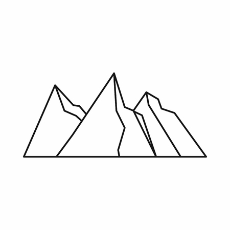 Mountains icon in outline style isolated on white background. Nature symbol Illustration