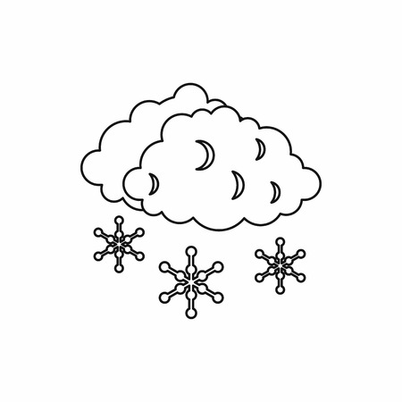 sleet: Clouds and snow icon in outline style isolated on white background. Weather symbol vector illustration