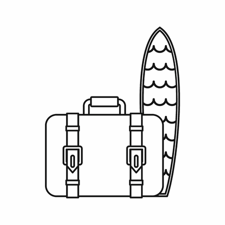 surfboard fin: Suitcase and surfboard icon in outline style isolated on white background. Trip symbol vector illustration