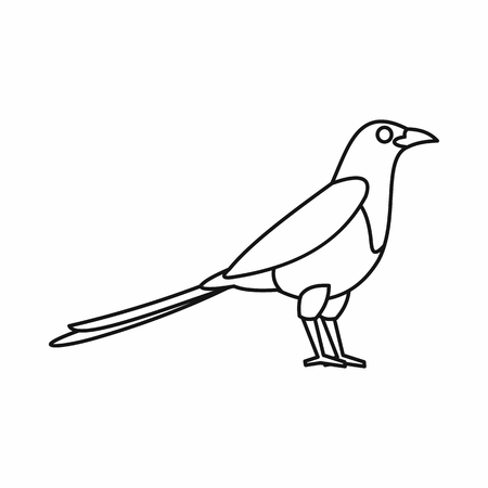 magpie: Bird magpie icon in outline style isolated on white background vector illustration Illustration