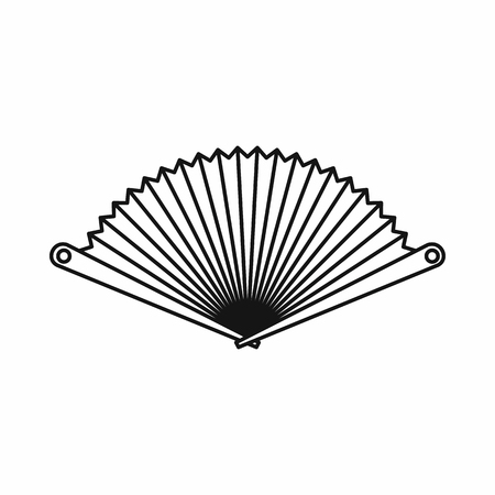 stuffy: Opened oriental fan icon in outline style isolated on white background vector illustration