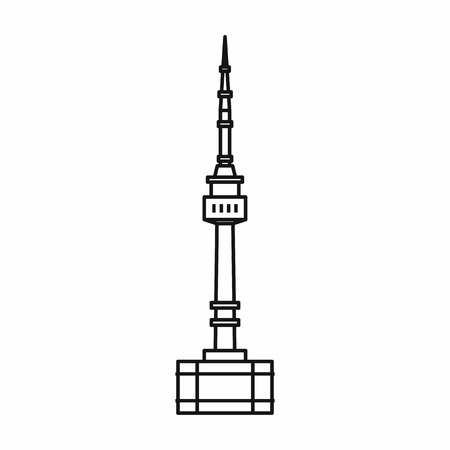 Namsan tower in Seoul icon in outline style isolated on white background vector illustration 矢量图像