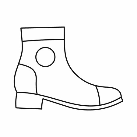shoelace: Men boot icon in outline style isolated on white background. Wear symbol vector illustration