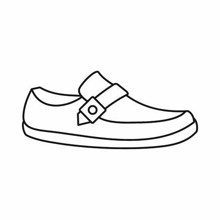 moccasin: Men moccasin icon in outline style isolated on white background. Wear symbol vector illustration Illustration