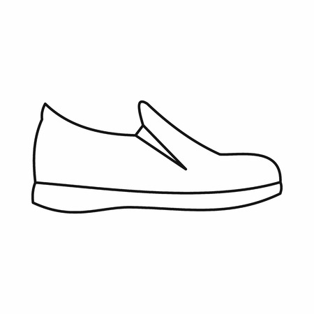 loafer: Shoes icon in outline style isolated on white background. Wear symbol vector illustration