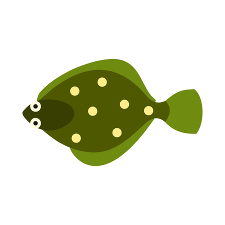 flounder: Flounder icon in flat style isolated on white background. Sea creatures symbol