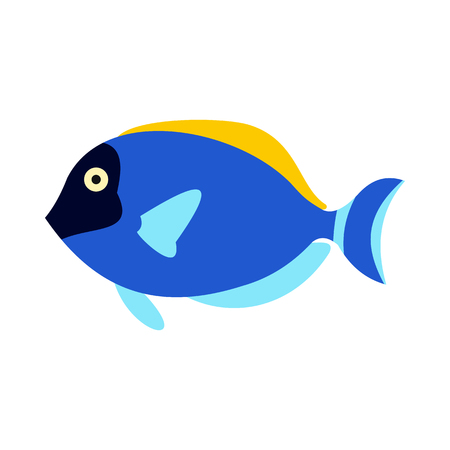 creatures: Surgeon fish icon in flat style isolated on white background. Sea creatures symbol Illustration