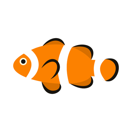 clown tang: Clown fish icon in flat style isolated on white background. Sea creatures symbol Illustration