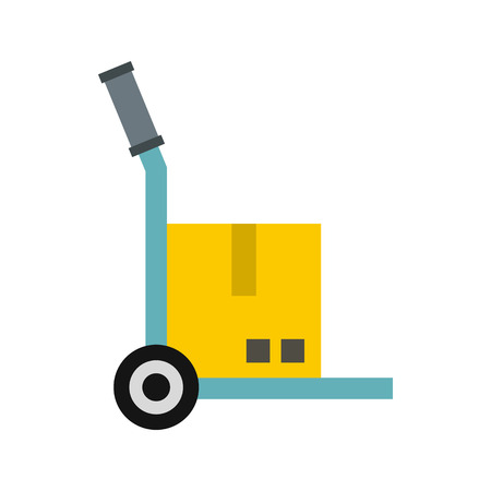 conveyance: Truck with cargo icon in flat style isolated on white background. Transport symbol Illustration