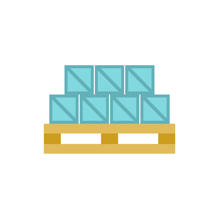 warehousing: Boxes goods icon in flat style isolated on white background. Warehousing symbol
