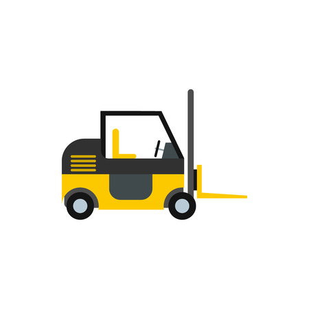 Forklift icon in flat style isolated on white background. Cargo transport symbol Illustration