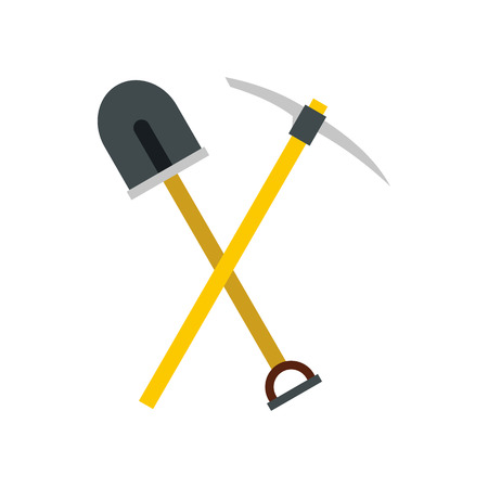 pickaxe: Shovel and pickaxe icon in flat style isolated on white background. Tool symbol