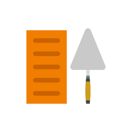 implement: Brick and trowel icon in flat style isolated on white background. Tool symbol Illustration