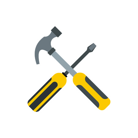 Hammer and screwdriver icon in flat style isolated on white background. Tool symbol