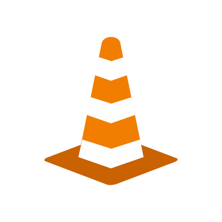 Traffic cone icon in flat style isolated on white background. Warning symbol