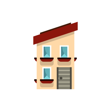 two storey: Two storey house with a sloping roof icon in flat style on a white background Illustration