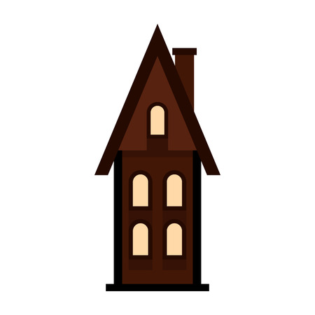 two storey: Brown two storey house with chimney icon in flat style on a white background