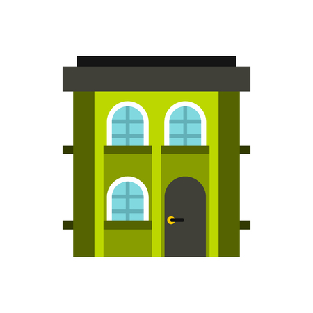 two storey: Green two storey house icon in flat style on a white background