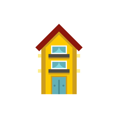 two storey: Small yellow two storey house icon in flat style on a white background