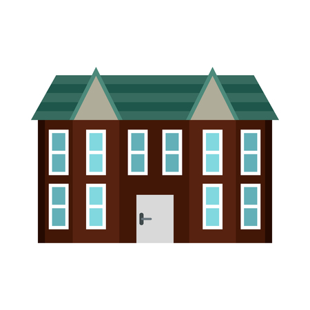 Brown two storey house icon in flat style on a white background