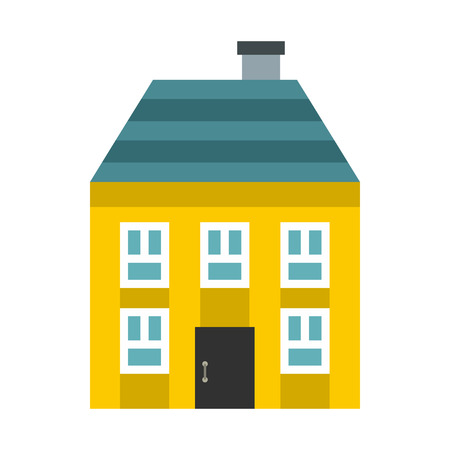 two storey: Yellow two storey house icon in flat style on a white background Illustration