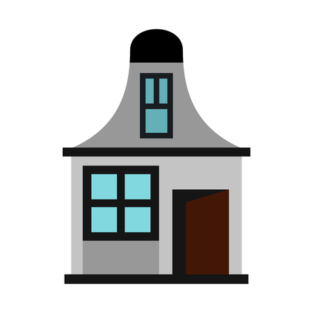 mansard: House with a mansard icon in flat style on a white background