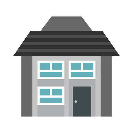 two storey: Gray two storey house icon in flat style on a white background