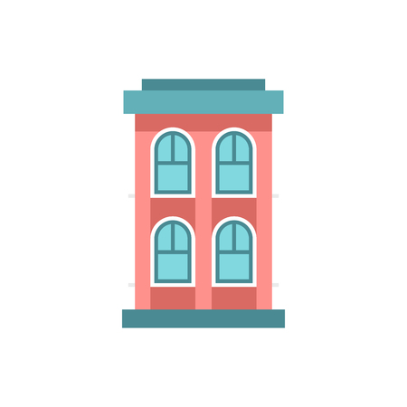 two storey house: Pink two storey house icon in flat style on a white background