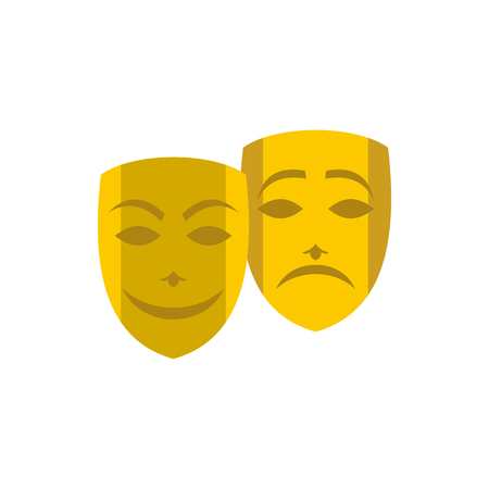 tragedy: Gold comedy and tragedy theatrical masks icon in flat style on a white background