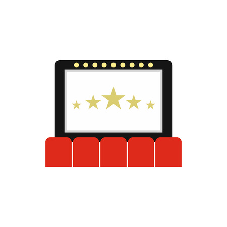 cinema auditorium: Cinema auditorium with screen and seats icon in flat style on a white background