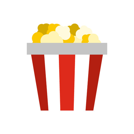 Popcorn in striped cardboard bucket icon in flat style on a white background Иллюстрация