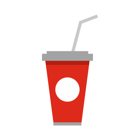 effervescent: Soft drink in a red paper cup with lid and straw icon in flat style on a white background