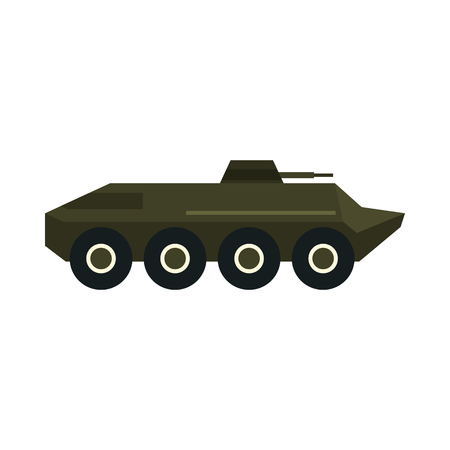 troop: Armoured troop carrier wheeled icon in flat style on a white background Illustration