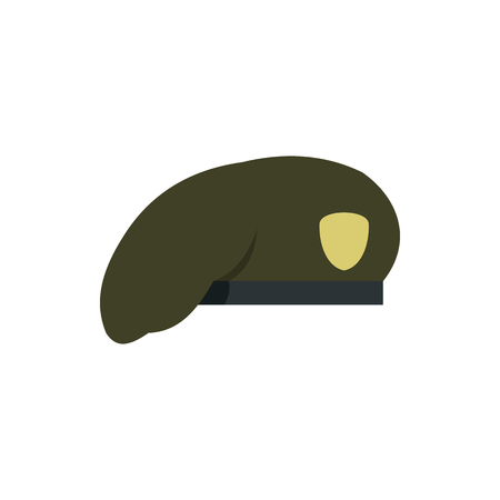 Military beret icon in flat style on a white background