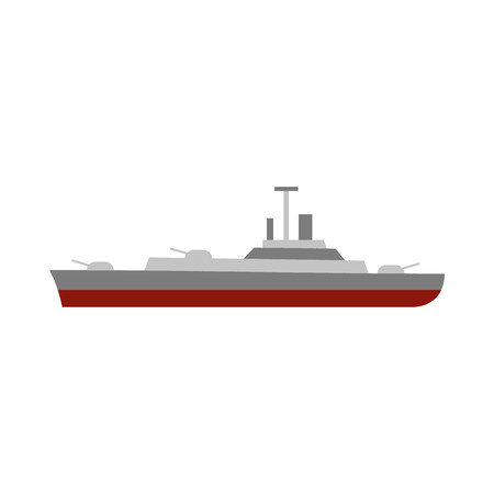 navy ship: Military navy ship icon in flat style on a white background Illustration