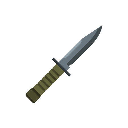 Nonfolding military knife icon in flat style on a white background Imagens - 61229478