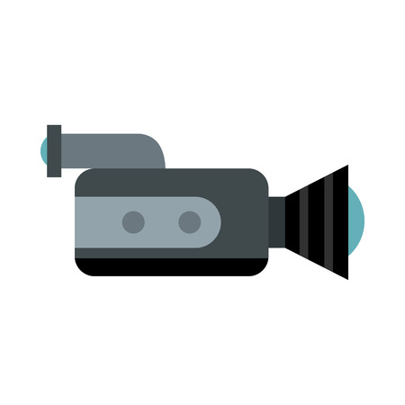 portability: Video camcorder with video cassette icon in flat style on a white background