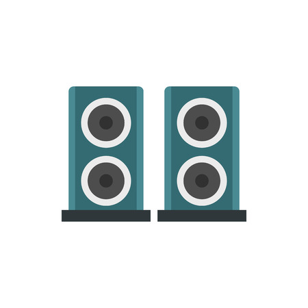two party system: Two audio speakers icon in flat style on a white background