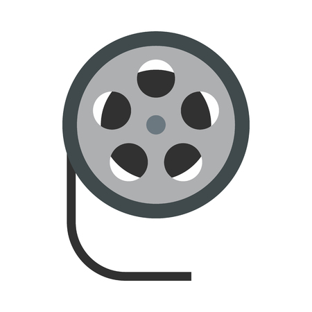 35mm film motion picture camera: Film reel icon in flat style on a white background Illustration