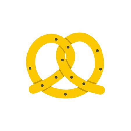 bretzel: Pretzel for Oktoberfest icon in flat style isolated on white background