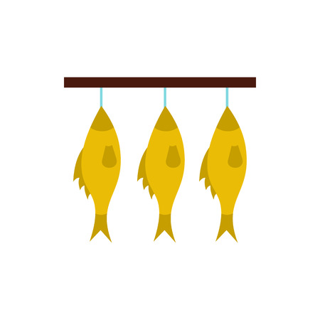Stockfish hanging on a rope icon in flat style isolated on white background Illustration