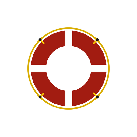 Red lifebuoy icon in flat style on a white background Illustration