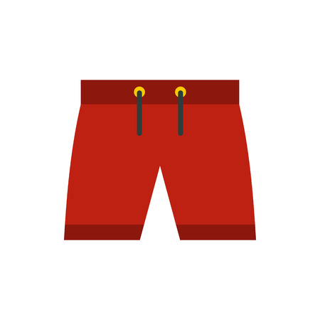 red shorts: Red shorts for swimming icon icon in flat style on a white background
