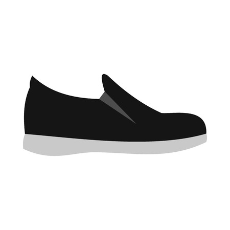 sole: Black shoe with white sole icon in flat style on a white background Illustration